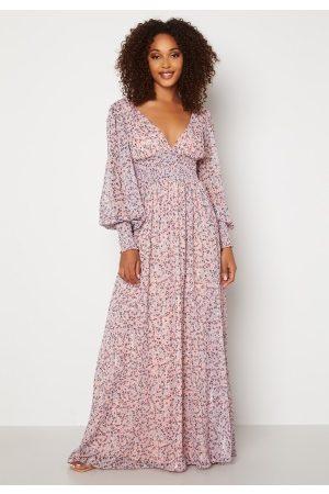 Goddiva Ditsy Long Sleeve Shirred Maxi Dress Blush XS (UK8)