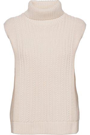 Victoria Victoria Beckham Sleeveless Turtleneck Vests Knitted Vests Creme