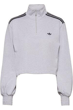 adidas Smocked Cuff Cropped Half-Zip Sweatshirt W Sweat-shirt Genser Grå