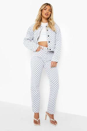 Boohoo Checkerboard Straight Leg Jean