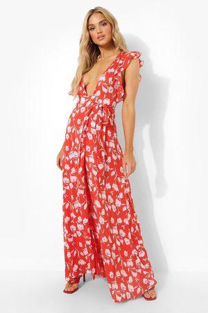 Boohoo Dame Maxikjoler - Floral Frill Detail Wrap Maxi Dress