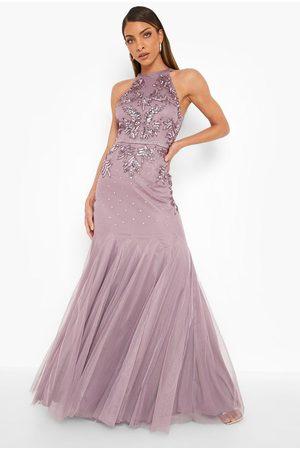 Boohoo Dame Maxikjoler - Bridesmaid Hand Embellished Halter Maxi Dress