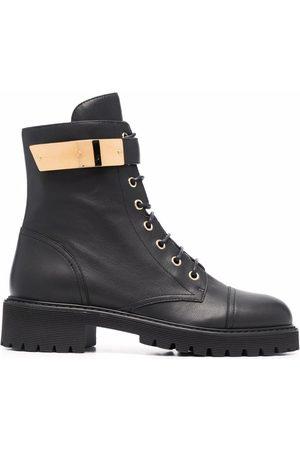 Giuseppe Zanotti Dame Skoletter - Leather lace-up biker boots