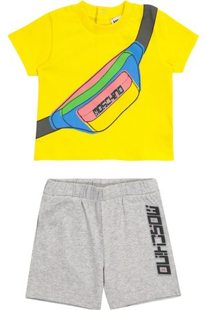 Moschino Baby Kortermede - Baby printed stretch-cotton T-shirt and shorts set