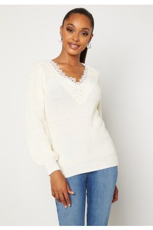 Happy Holly Dame Strikkegensere - Wendy lace sweater Offwhite 52/54