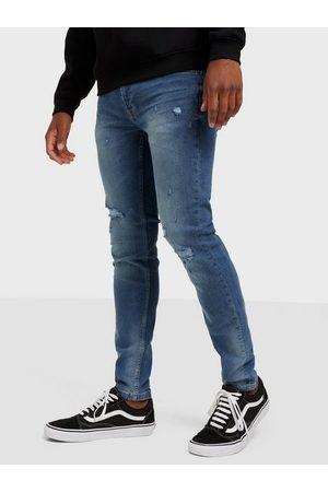 Only & Sons Herre Skinny - Onswarp Life Skinny Blue Damage Pk Jeans Blue Denim