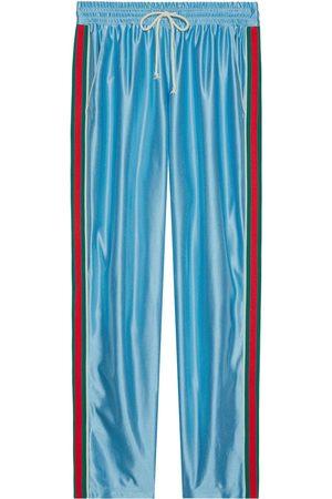Gucci Herre Joggebukser - Web stripe shiny jersey track pants