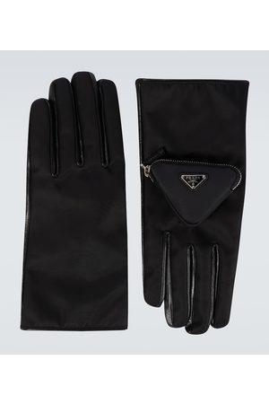 Prada Nylon and leather gloves