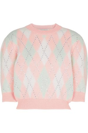 Alessandra Rich Mohair-blend checked sweater
