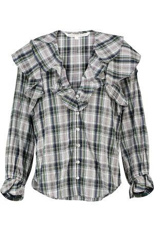 Veronica Beard Itha checked cotton-blend blouse
