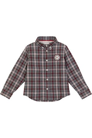 Brunello Cucinelli Kids Checked long-sleeved cotton shirt
