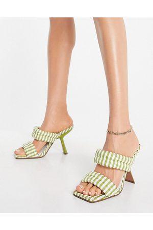 ASOS DESIGN Nadalie padded heeled mules in green gingham