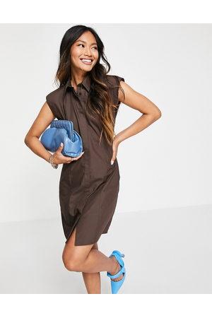 ASOS DESIGN Sleeveless shoulder pad mini shirt dress in chocolate-Brown