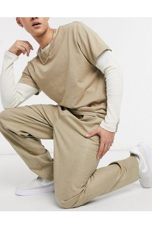 ASOS DESIGN High waist slim trouser in camel-Neutral