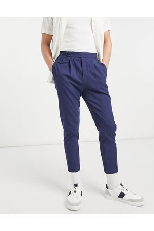ASOS DESIGN Tapered smart trousers in navy crinkle cotton linen