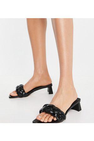 ASOS DESIGN Wide Fit Hosta weave mid heeled mules in black