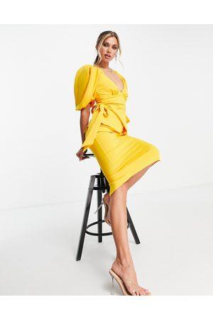 ASOS DESIGN Tie side sweetheart puff sleeve pencil midi dress in marigold