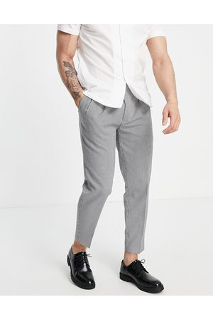 Topman Tapered checked trousers in brown