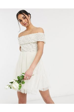 Maya Off shoulder mini tulle dress with tonal delicate sequin in ecru-White