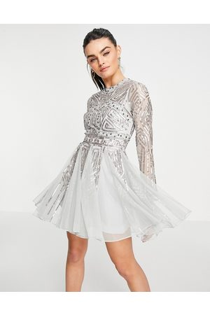 ASOS Long sleeve mini dress with gem and sequin embellishment in Sage-Green