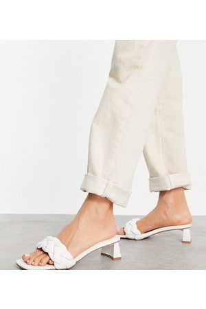 ASOS Wide Fit Hosta weave mid heeled mules in white