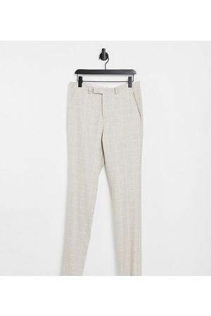 Twisted Tailor TALL suit trousers in window pane check stone-Neutral
