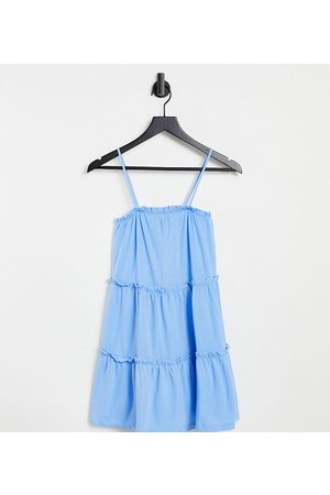 ASOS DESIGN Petite strappy sundress with tiered frill detail in chambray blue