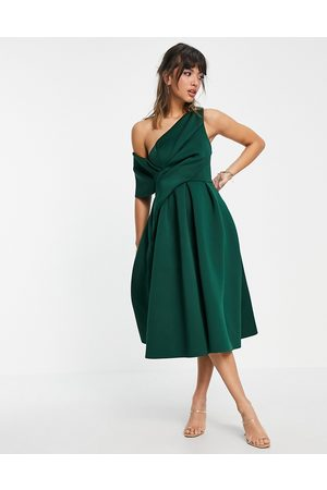 ASOS DESIGN Bare shoulder prom midi dress in forest green