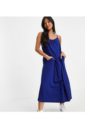 ASOS DESIGN Petite gathered neck strappy midi sundress with pockets in navy