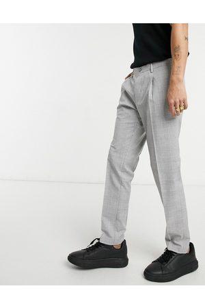 Burton Menswear Skinny POW check pleasted trousers in grey