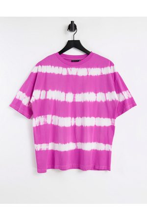 ASOS Oversized t-shirt in pink bleached stripe
