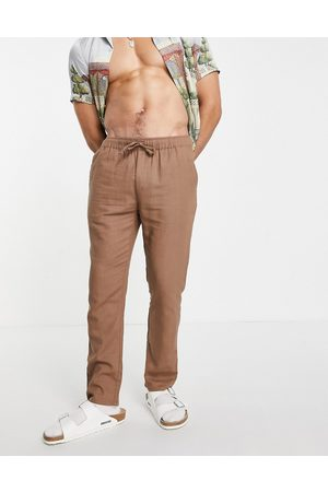 ASOS Co-ord linen mix slim trousers with elasticated waist in brown