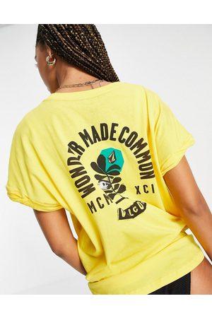 Volcom Frontye t oversized t shirt in yellow