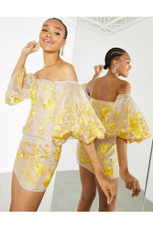 ASOS Embroidered organza off shoulder midi dress-Multi