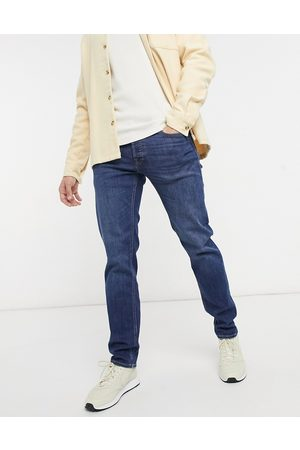 JACK & JONES Intelligence Mike relaxed fit jeans in mid wash-Blue