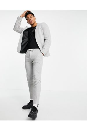 ASOS Super skinny smart jogger in grey jersey with drawcord waistband