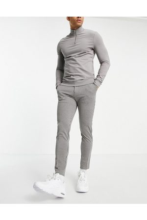 Mauvais Check trousers with half belt in -Neutral