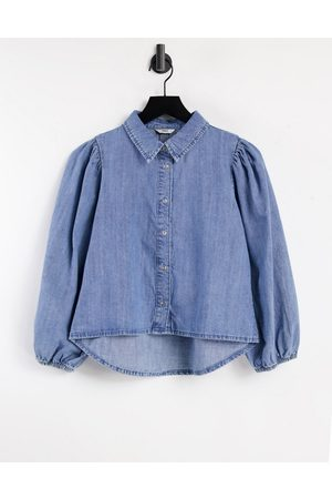 ONLY Denim crop shirt with 3/4 sleeve in blue