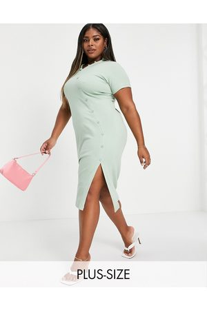Outrageous Fortune Rib button through midi dress in sage-Green