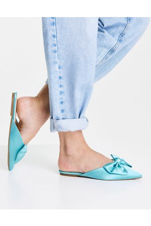 ASOS Lass oversized bow pointed flat mules in blue satin-Black