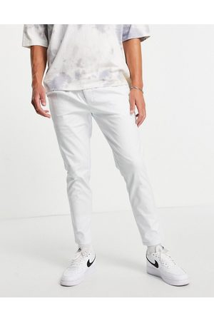 ASOS Cigarette chinos with pleats in white
