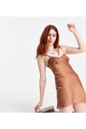 COLLUSION 90's satin mini slip dress with open back in mocha-Brown