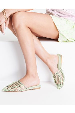 ASOS Lovesick pointed woven flat ballet mules in sage green