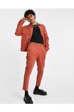 ASOS Co-ord skinny crinkle smart tapered trousers in rust-Brown