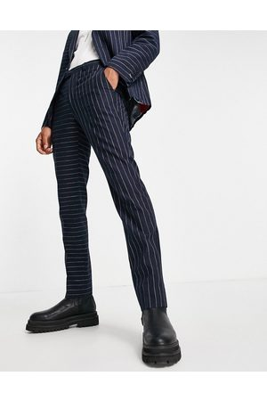 Twisted Tailor Suit trousers with contrast pinstripes in navy