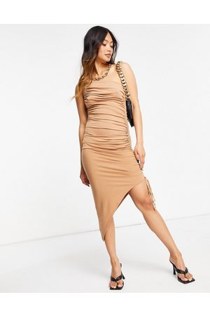 Flounce London One shoulder asymmetric midi dress with ruched side in mocha-Brown