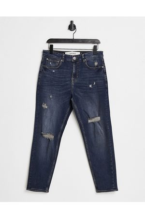 New Look Tapered jeans with rips in dark blue