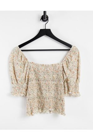 & OTHER STORIES Organic cotton shirred puff sleeve top in beige floral-Multi