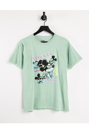Daisy Street Oversized t-shirt with mickey mouse graphic in vintage wash-Green