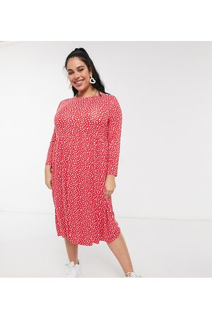 Wednesday's Girl Long sleeve midi smock dress in smudge spot print-Red